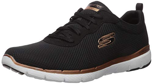 Skechers Women's Flex Appeal 3.0-first Insight Trainers, Black Black Mesh/Rose Gold Trim Bkrg, 8 UK...