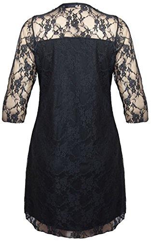 Donna con lacci in contrasto, taglie vestito da festa 14-28 Nero