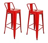 La Chaise Espagnole - Lot DE 2 Tabourets de Style Tolix avec Dossier, Rouge, 95x44,5x44,5