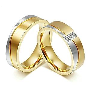 Aooaz 1 Paar Partnerringe Verliebte Ringe Edelstahl Gold Vergoldet Edelstahl Ringe Partnerringe Eheringe Zirkonia 6MM