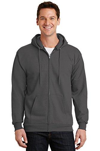 Port & Company® - Essential Fleece Full-Zip Hooded Sweatshirt. PC90ZH Charcoal