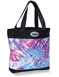 Danshuz Girls Multi Tie Dye Print Dance Applique Microfiber Lined Tote Bag