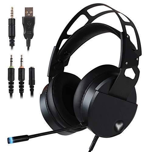 Laptop-computer-stahl Sicher (WYJP Stereo Gaming Headset für PS4 Xbox One, USB PC Gaming Kopfhörer mit kristallklarem Sound, LED Lichter & Rauschunterdrückung Mikrofon für Laptop, Mac, iPad, Computer, Smartphones)
