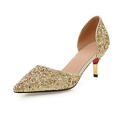 Damen-High Heels-Kleid Lässig Party & Festivität-Glanz Kunstleder-Stöckelabsatz-Regenstiefel-Schwarz Weiß Silber Gold GOLDEN