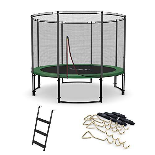 Ampel 24 Deluxe Outdoor Trampolin 305 cm mit außenliegendem Netz, Belastbarkeit 150 kg, Set mit Leiter & Windsicherung, Sicherheitsnetz mit 8 gepolsterten Stangen