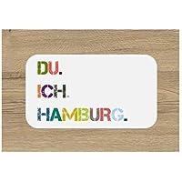 DU. ICH. HAMBURG. Frühstücksbrettchen | Brettchen | Schneidebrett | 23 x 14 cm | mit Spruch | bunt | Geschenk | Weihnachten | Geburtstag | Einzug