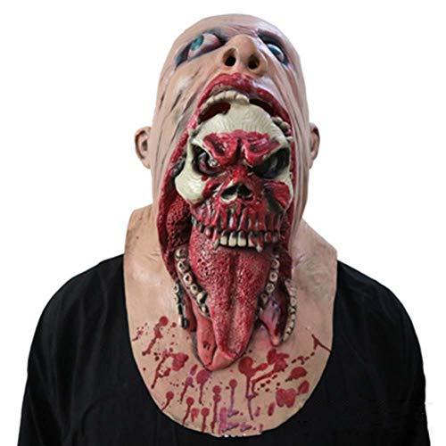Amprines Halloween-Maske Horror Widerlich Rot Gesicht Blutige Zombie-Maske Zu Fuß Tot Auto Biohazard Kopfbedeckung