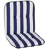 nxtbuy Gartenstuhl-Auflage Capri 96x47x5cm - Niedriglehnerauflage für Gartenstühle - Stuhlauflage mit Komfortschaumkern - Made in EU / ÖkoTex100, Dessin:Blue & White, Anzahl:4er Set