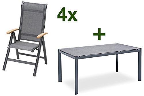 Belardo BELARDO Xylena Sitzgruppe, anthrazit, Alu/Textil, 160x100cm ...