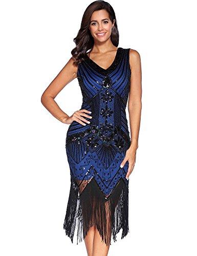 Damen Flapper Kleider voller Pailletten Retro 1920er Jahre Stil V-Ausschnitt Great Gatsby Motto Party Damen Kostüm Kleid (Blau, s)