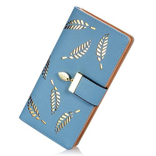 Abbigliamento donna borsa in pelle di moda portafogli foglia d'oro Hollow grande capacità borsa Portafoglio (Blu) Blu