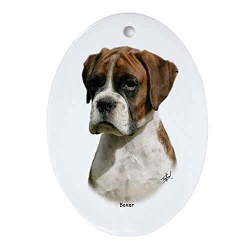 (CafePress–Boxer Welpe Schmuck 9y049d-033(Oval)–oval Urlaub Weihnachten Ornament)