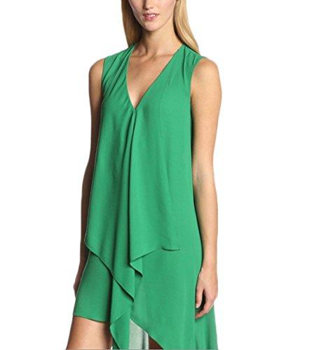 Ballkleider Damen Elegante Ärmellos V-Ausschnitt Irregular Chiffonkleid Freizeitkleid Cocktailkleid Grün