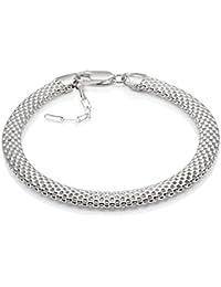 LillyMarie Damen Silberarmband Echt Silber Ohne Anhänger Länge Flexibel  Geschenkbox Freundinnen Geschenk 3b944466d0
