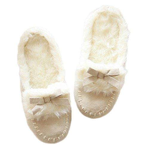 Fortuning's JDS Donne delle signore delle ragazze Accogliente pelle scamosciata rimonta velluto casa Calzature arco comodo Flatform pantofole Bianco