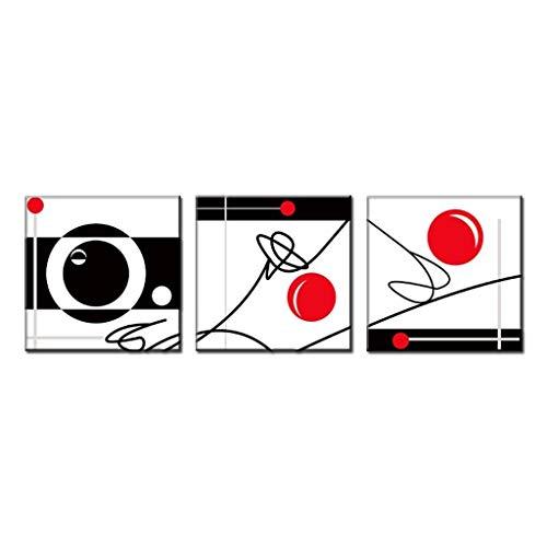 RHBNVR 40 * 40cm 3 stück Abstrakte Sportfiguren Malerei Drucke Moderne Schwarze Linien Rote Kugeln in Weiß Wohnzimmer Dekoration