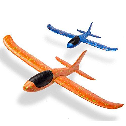 LVHERO 2 stücke 13,5 Zoll Segelflugzeug, manuelles werfen, spaß, Outdoor-Sportarten Spielzeug, Modell Schaum Flugzeug, blau & orange Flugzeug (LO-Flugzeug 2 stück)