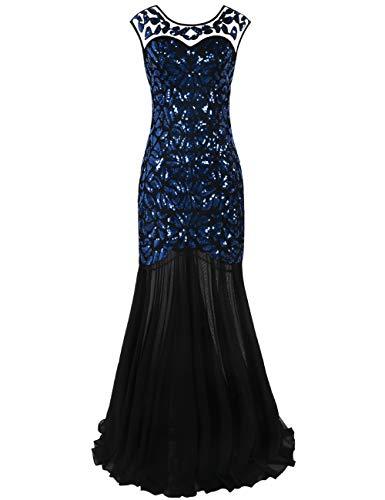 PrettyGuide Damen Abendkleid 20er Jahre Kleid Pailletten Gatsby Maxi Langes Ballkleid, Schwarz Blau, M/EU40-42