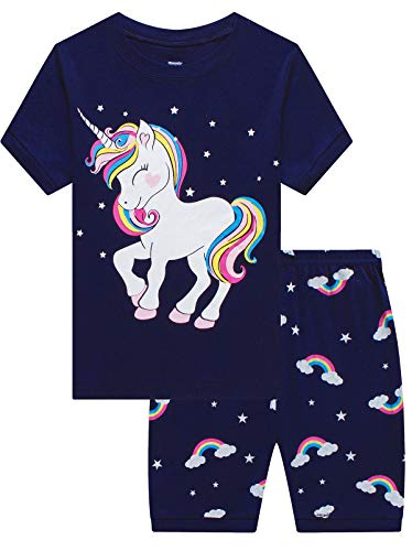MIXIDON Mädchen Schlafanzug Giraffe Baumwolle Kinder Langarm Pyjama 98 104 110 116 122 128 134 140 146 - Schlaf-pyjama