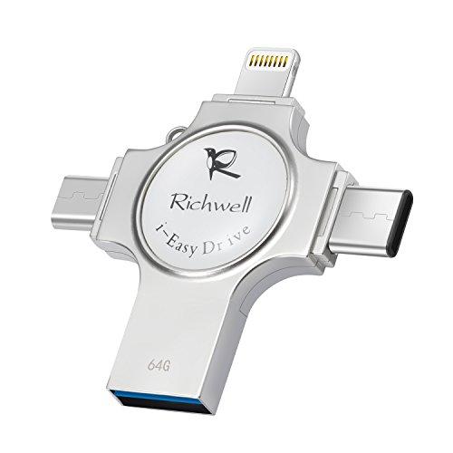 Galleria fotografica IPhone USB 64gb Memory Stick Flash Drive 3,0 U disco Memoria esterna Richwell 4in1 USB per Apple iPhone iPad iOS Mac Android Type-C 3.1 e Computer Interfaccia USB C (Silver64-SZ)