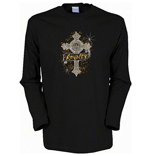 Cooles Herren Langarmshirt, Farbe: Schwarz, USA Gothic Motiv: Kreuz Schwarz