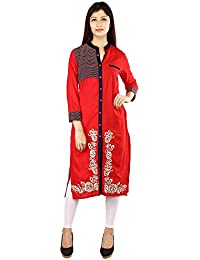 Rayon Front Slit Kurti For Women With Embroidery In Red Colour By RainDrop