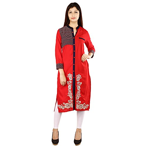 Rayon Front Slit Kurti For Women With Embroidery In Red Colour by...