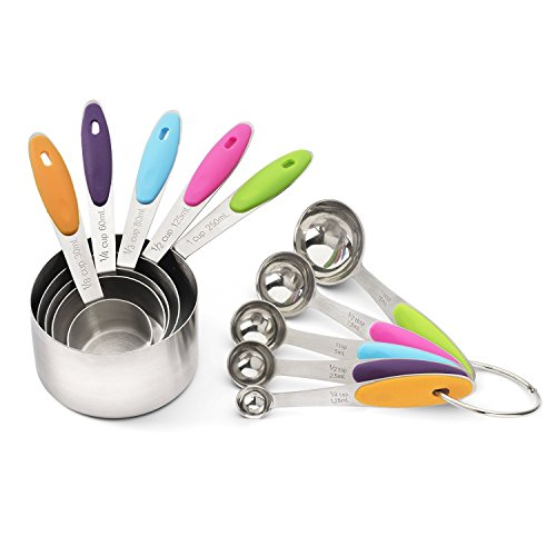 Jorunhe Set of 10 American Kitchen Cooking Baking Measuring Cup Measuring Spoon in Stainless Steel with Silicone Handle (Farbe) (Baking Set Cup)