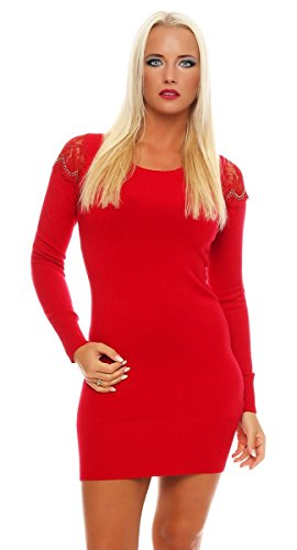 Fashion4Young - Robe - Taille empire - Femme bleu Schwarz XS=36 Rouge