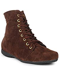 Shoe Swagg Beautiful Brown Color Velvet Women's Boots ( Ankel Boots Velvet)