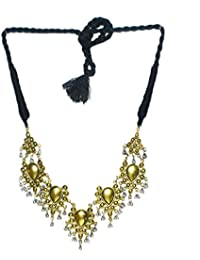 Cemaya Aghani Gypsy Style Black Silk Thread Oxidized Silver Bollywood Style Necklace For Girls And Women