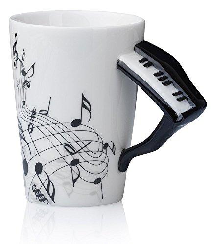 Kompassswc Keramik Kaffeetasse Lusitig Klavier Henkel Porzellan Tasse Musik-Note Bedruckt Teetasse Winter Geschenk Kaffeebecher Für Musiklieber Ø7,5 H10cm 0,3L