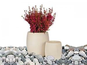 Blumentopf / Pflanzentopf 2-tlg SET Übertopf , weiß