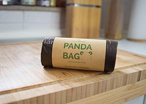 Planet Bamboo: Kompostierbare Bio-Müllbeutel (7 bis 10 L mit Tragegriff | 100 Stück | Braun) 100% kompostierbar nach EN 13432 - 2