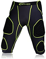 Fuerza total Football penetrancia Shorts Shocc Lite 7 Pad, negro/verde, color , tamaño small