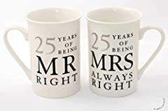Idea Regalo - 25 Regalo Di Anniversario Set di 2 Tazze Di Porcellana 'Mr Destro & Mrs Always Right'