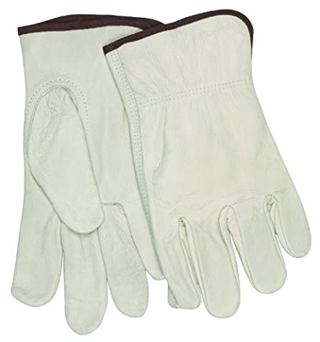MCR Safety 32113L Industry Grade Unlined Grain Cow Leather Driver Men's Gloves with Keystone Thumb, Cream, Large, 1-Pair by MCR
