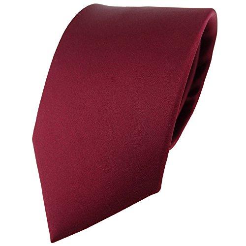 TigerTie Satin Seidenkrawatte in bordeaux einfarbig Uni - Krawatte 100% Seide