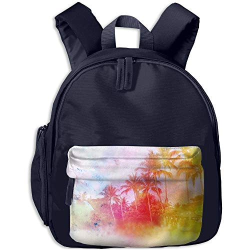 1582f11fa35bf Watercolor Vintage Palm Island Print Children s Fashion Backpack Bag 3.9 X  10.6 X 12.5 Inch