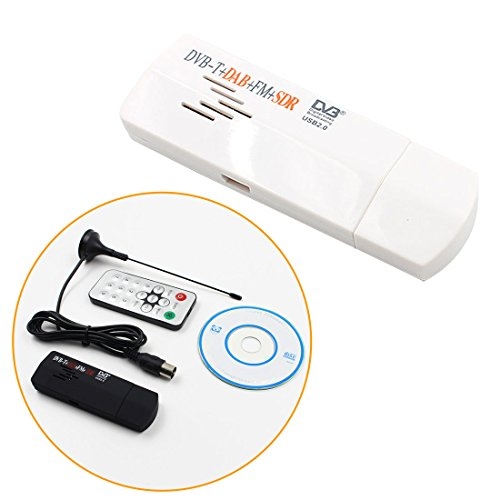 Digitaler USB-Fernseher FM + DAB DVB-T RTL2832U + R820T SDR-Empfänger HDTV TV Stick Dongle mit Empfänger Antenne Schwarz