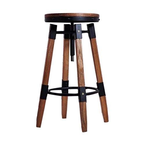 ChunSe Bequeme Sitzhocker,Kreativ Holz Retro Eisenstange Bank Hoher Stuhl Drehung Heben Essensstuhl Bar und Stuhl Hoch 45~75cm, size 32*32*75