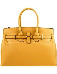 Tuscany Leather Elettra - Sac à main pour femme en cuir Ruga avec finitions couleur or - TL141548