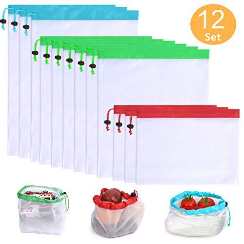 KHDZ Obstbeutel und Gemüsebeutel 12 Set Wiederverwendbare Gemüsenetze Polyester Einkaufstasche 3 Größen Umweltfreundlich Waschbar Robust Leicht Säcke für Einkaufen, Aufbewahrung (MEHRWEG) -
