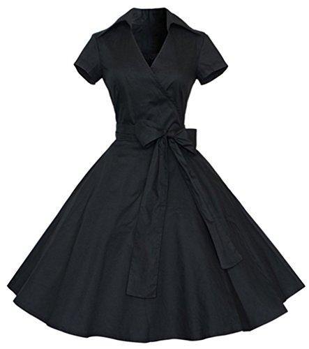 Eudolah Robe Vintage Uni pantineuse avec manches courtes et un noeud swing style des années 50 Femme Noir