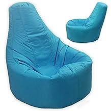 Puf con respaldo reclinable tamaño XXL, para interior y exterior, color azul aguamarina (impermeable y resistente a la intemperie). Ideal para gamers.