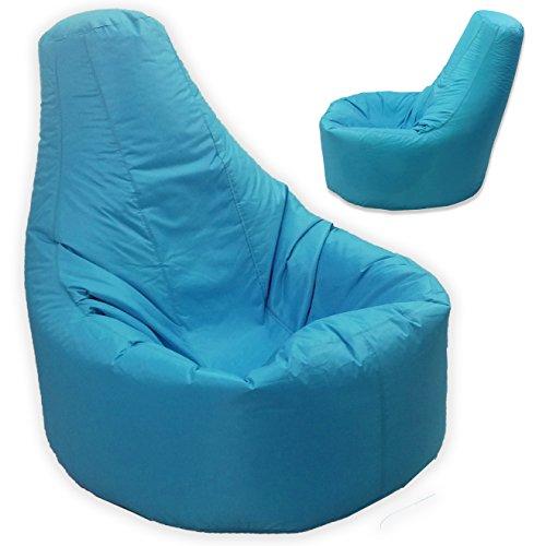 Gamer sillón reclinable y puf de tamaño grande para exteriores e interiores para videojuegos para XXL azul turquesa - asiento de silla puf (agua y resistente a la intemperie)