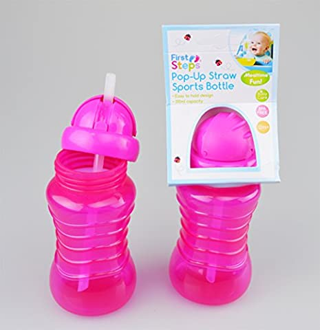 First Steps 2 x Drinks Bottles with Pop-up Straw for