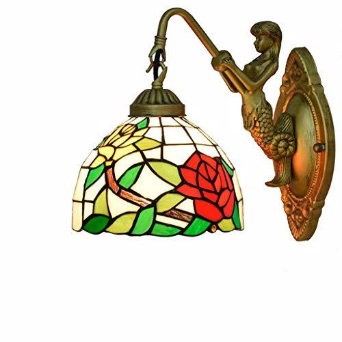Tiffany-stil-rote Rose (PINGUINO 20 cm Tiffany Stil Retro Wandleuchte, Europäische Retro Kunst Rote Rose Glasmalerei Licht Für Wohnzimmer Schlafzimmer Nacht Restaurant Doppelkopf Wand Licht)