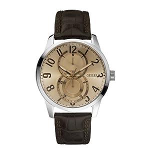 Guess Mens Fashion W95127G2 - Reloj analógico de cuarzo para hombre, correa de cuero color marrón de Guess