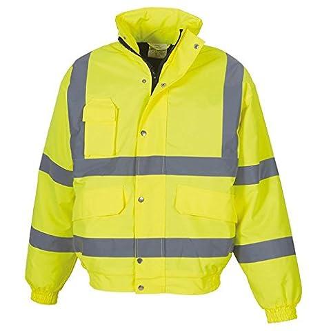 Men's Hi vis classic bomber jacket (HVP211) YOKO Inside Patch Pocket (X-Large, Yellow)